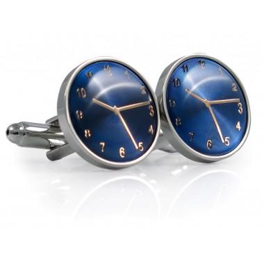 Spinki do mankietów - srebrno-niebieskie zegarki A187