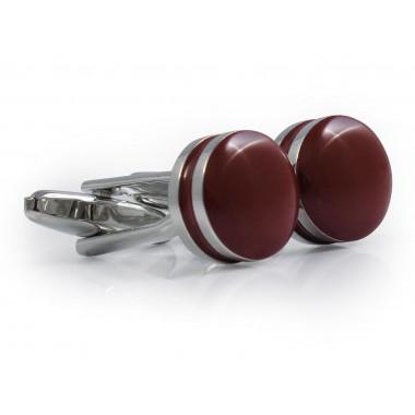 Bordowe okrągłe spinki do mankietów A188