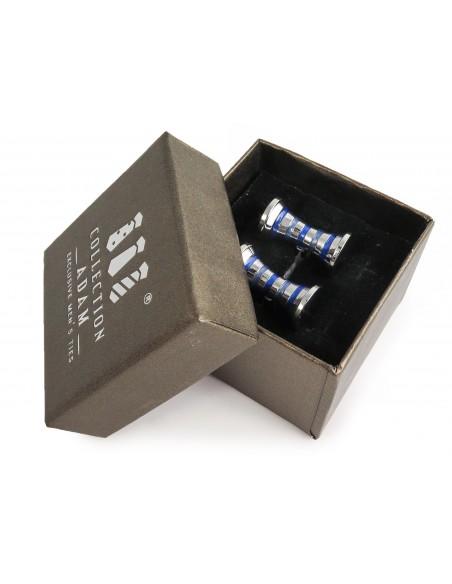Srebrno-niebieskie spinki do mankietów A191