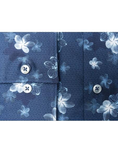Granatowa koszula w kwiaty KASTOR K78