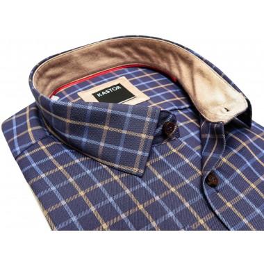 Granatowa koszula w kratę KASTOR K79