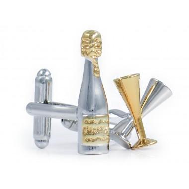 Srebrno-złote spinki do mankietów - szampan U224