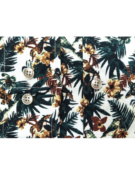 Biała koszula w tropikalny wzór Mmer A028