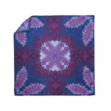 Niebiesko-fioletowa jedwabna poszetka - orientalny wzór EJ18