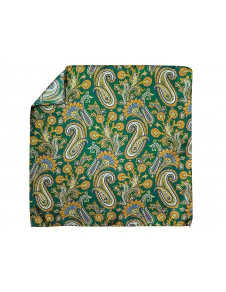 ZIelona jedwabna poszetka w żółty paisley EJ3