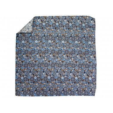 Niebieska jedwabna poszetka w orientalny wzór, kwiaty EJ6