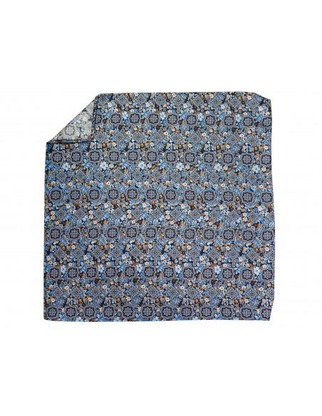 Niebiesko-brązowa jedwabna poszetka w orientalny wzór, kwiaty EJ6