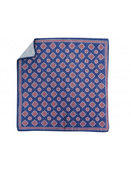 Niebieska jedwabna poszetka w kwiaty EJ8