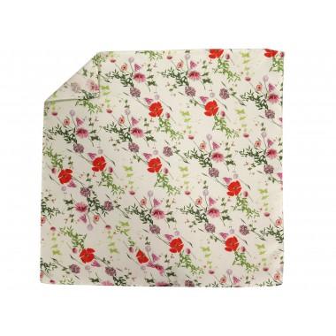 Kremowa jedwabna poszetka w kwiatki EJ14