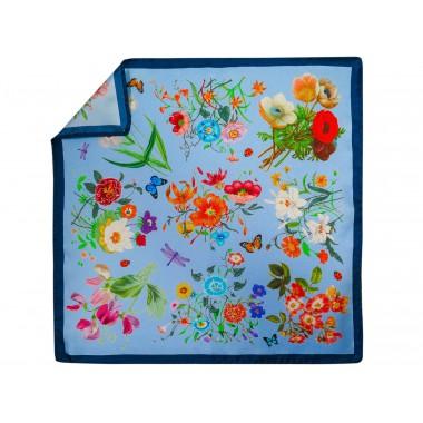 Błękitna jedwabna poszetka w kwiatki EJ15