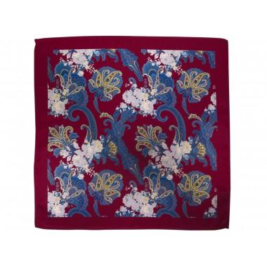 Bordowa poszetka w niebiesko-fioletowy wzór paisley, floral E225