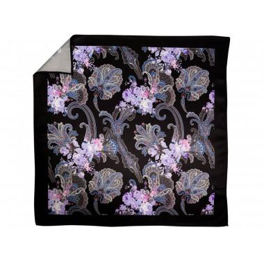 Czarna poszetka w niebiesko-fioletowy wzór floral E227