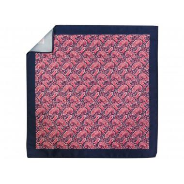 Granatowo-jasnoczerwona poszetka we wzór paisley E237