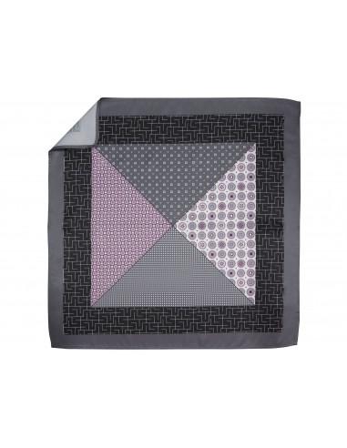 Szaro-fioletowa poszetka w 4 wzory E240