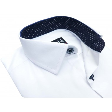 Biała koszula dziecięca z granatowymi kontrastami w kropki Y01