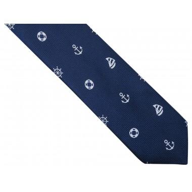 Granatowy krawat męski w marynistyczny wzór D257