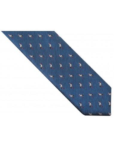 Niebieski krawat męski w bociany D258
