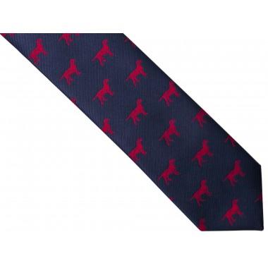 Granatowy krawat męski w bordowe psy D262