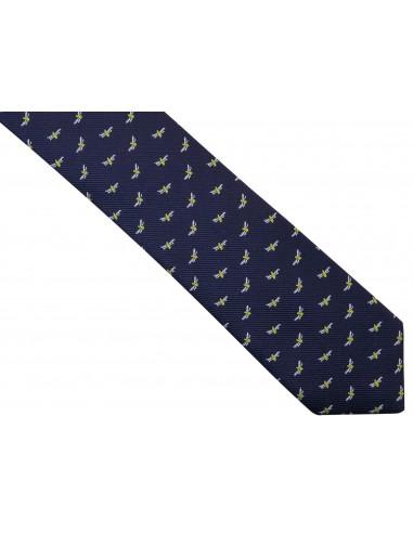 Granatowy krawat męski w muchy/ważki D264