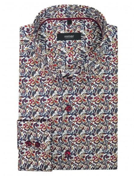 Biała koszula w kolorowy florystyczny wzór Mmer A035