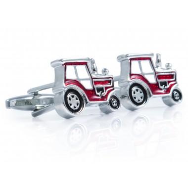 Spinki do mankietów czerwone traktory N137