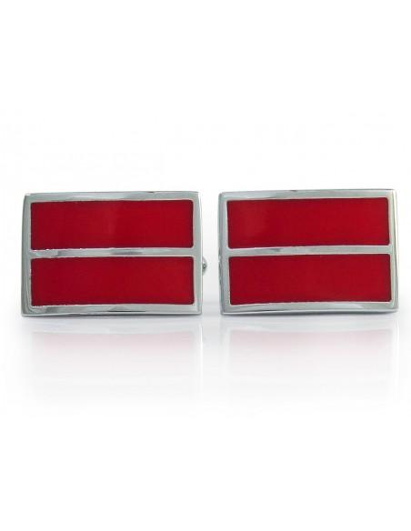 Prostokątne srebrno-czerwone spinki do mankietów - pasek N142