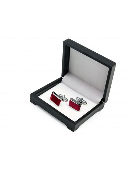 Prostokątne srebrno-czerwone spinki do mankietów N143