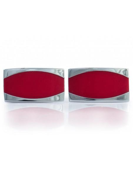 Prostokątne srebrno-czerwone spinki do mankietów N144
