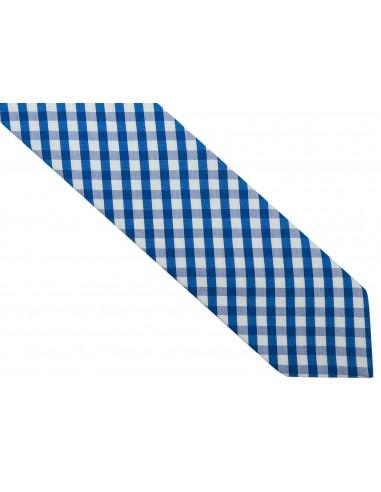 Niebiesko-biały bawełniany krawat w kratkę R38