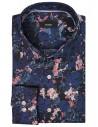 Granatowo-różowa koszula w kwiaty Mmer A030