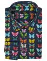 Granatowa koszula w kolorowe motyle 939