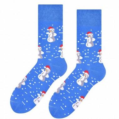 Niebieskie świąteczne skarpetki - bałwanki SK191