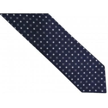 Granatowy bawełniany krawat w białe kwiatki R39