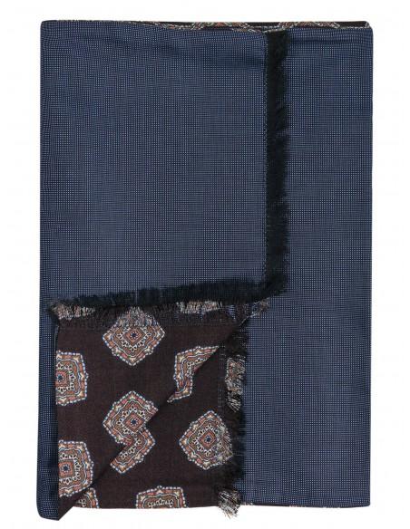 Brązowy dwustronny wełniany szal męski we wzór - ornamenty J26