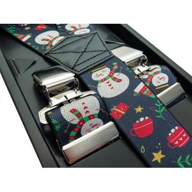 Szare szelki w świąteczny wzór - bałwanki SZ91
