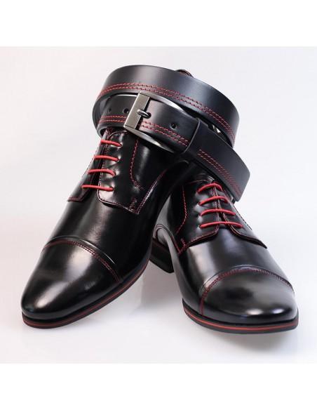 Czarne buty wizytowe z czerwonymi kontrastami