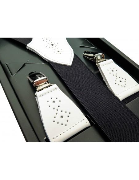 Czarne szelki z białymi ażurowymi skórkami SZ96