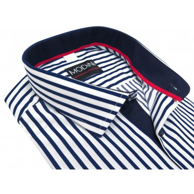 Biało-granatowa koszula męska w pionowe paski Y03