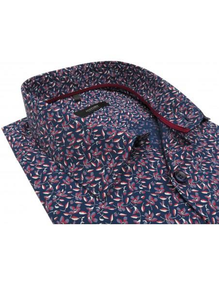 Granatowa koszula w niebiesko-bordowe kwiatki A080