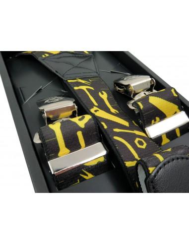 Czarne szerokie szelki męskie w żółte narzędzia SZ19