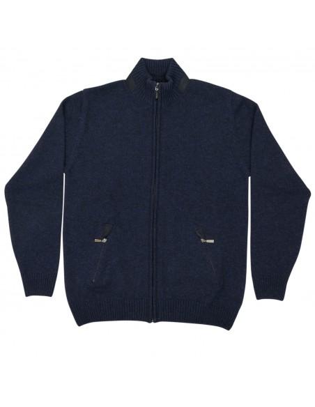 Granatowy sweter męski - półgolf rozpinany na zamek SW57