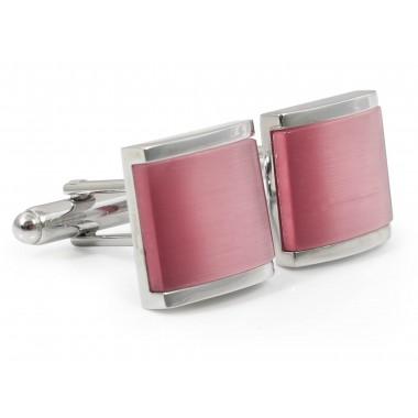 Srebrno-różowe kwadratowe spinki do mankietów A195