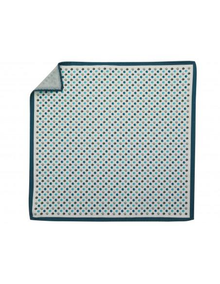 Jedwabna biała poszetka w niebieskie i szare kropki EJ22