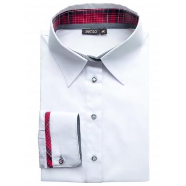 Biała damska koszula z czerwonymi kontrastami Senso DK3