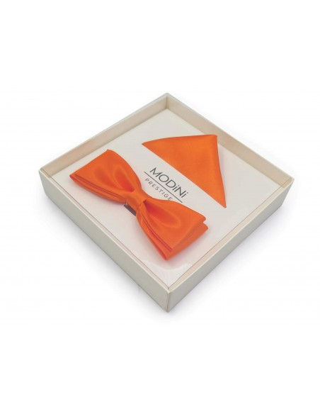 Pomarańczowa mucha fason wąski + poszetka B34