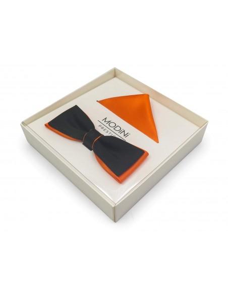 Czarno - pomarańczowa mucha slim z poszetką