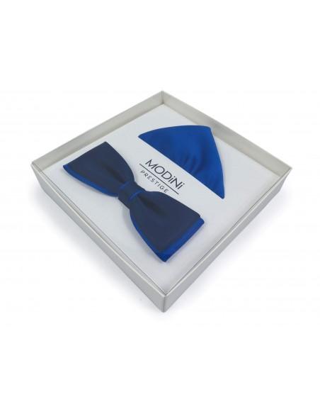 Granatowo - niebieska muszka slim z poszetką B37