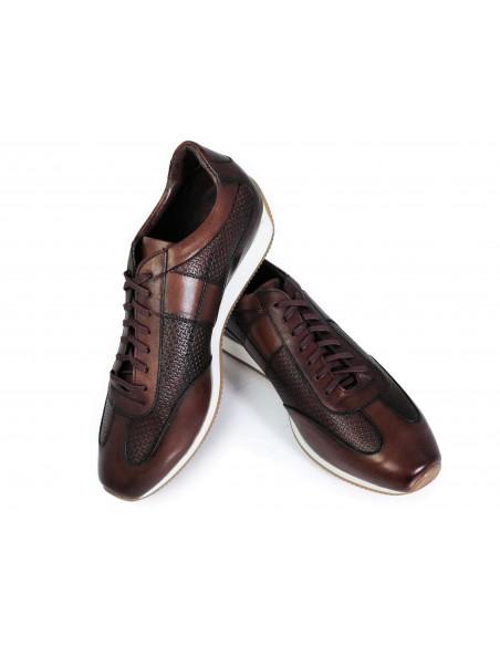 Brązowe skórzane obuwie - sneakers T139