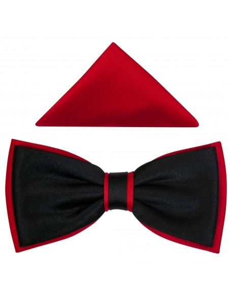 Czarno-czerwona muszka męska szeroka B13