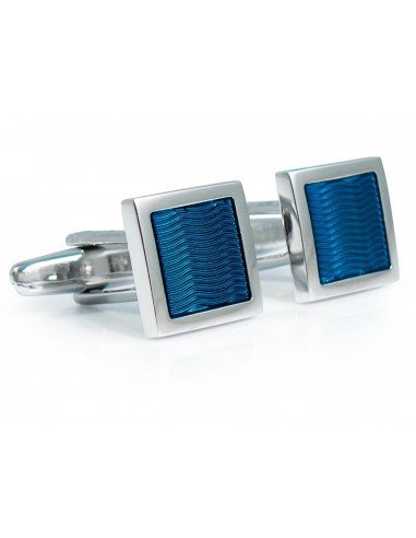 Niebieskie kwadratowe spinki do mankietów - fale A196